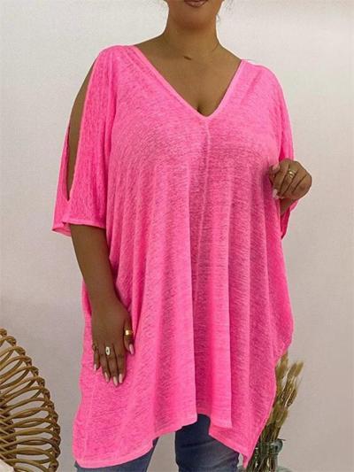 Women's Loose Short-Sleeved Solid Color V-Neck T-Shirt