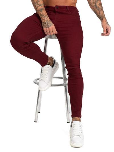 Mens Classic Casual Solid Color Denim Pants