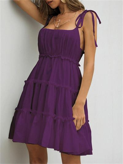 Sexy Backless Mid-Waist Solid Color Halter Dress