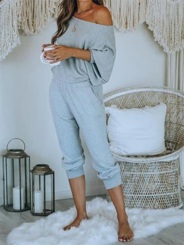 Leisure Sports Round Neck Long Sleeve Solid Color Top +  Elastic Cuff Sweatpants