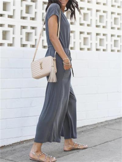 Casual V-Neck Short Sleeve Elastic Waist Wide-Leg Jumpsuit