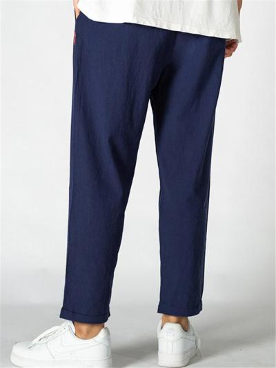 Mens Loose Breathable Cotton&Linen Casual Sports Pants