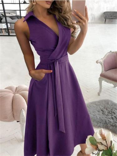 Fashion Sexy Sleeveless V-neck Solid Color Irregular Dress