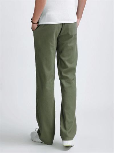 Mens Loose Linen Vertical Casual Pants