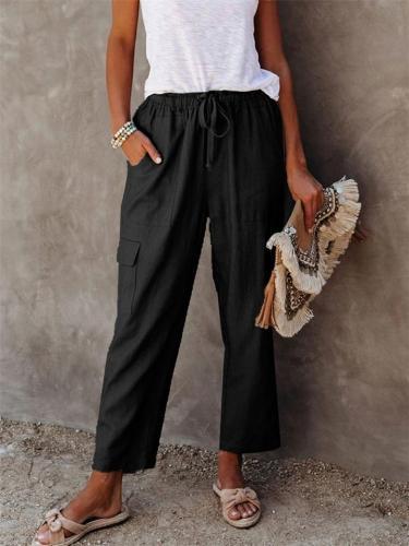 Street Style Multi-Pocket Solid Color Elastic Waist Wide-Leg Pants