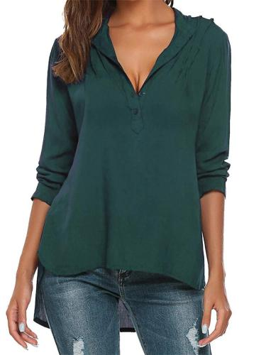Casual Style Lapel Collar Button High-Low Curved Hem Blouse