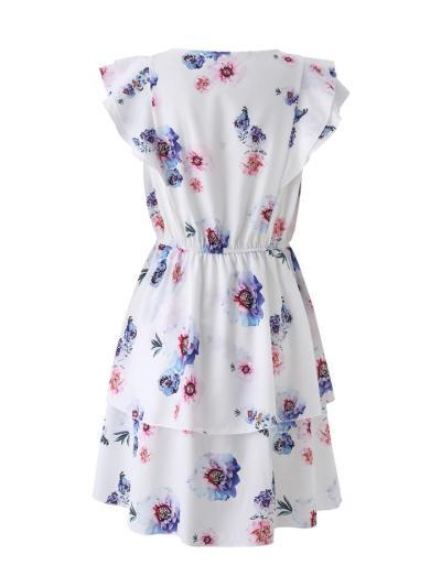 Women's Loose Ruffled Sleeveless Round Neck Print Double Layer Dress