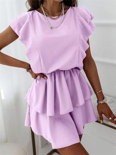 Fashion Loose Lotus Leaf Sleeve Solid Color Round Neck Mid-Waist Dress