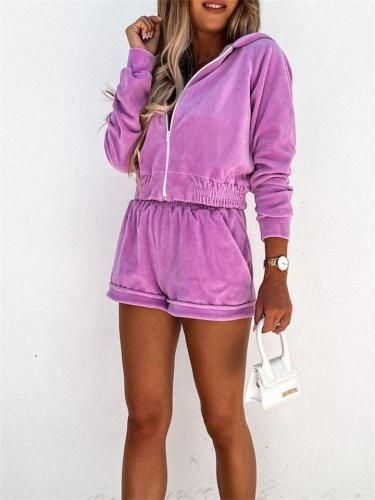 Two-Piece Set Sports Casual Hooded Solid Color Zipper Top + Elastic Waist Shorts