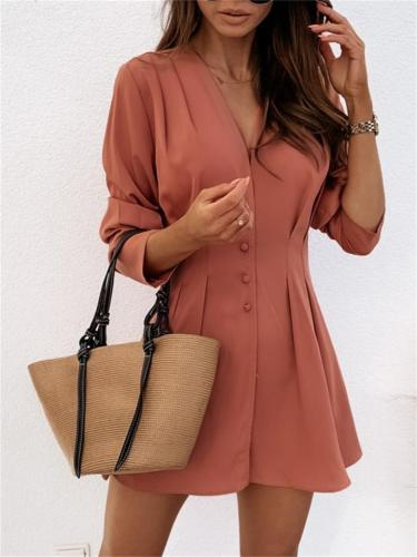 Sexy Style Button V Neck Long Sleeve Slim Fit Blouse