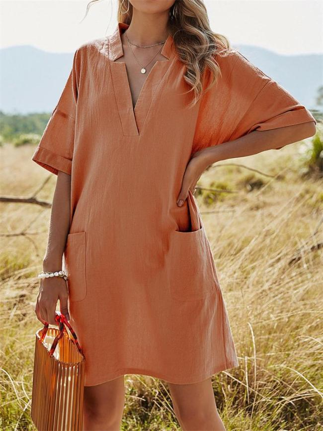 Vintage Loose Solid Color V-Neck Pocket Short-Sleeved A-Line Dress