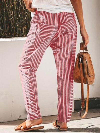 Women's Loose Striped Casual Straight Wide-Leg Pants