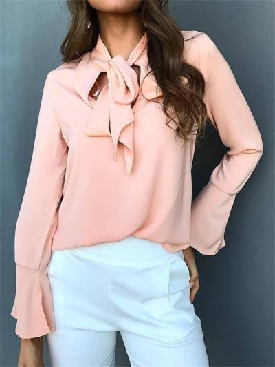 Casual Solid Color V-Neck Bow Tie Flared Sleeve Chiffon Shirt