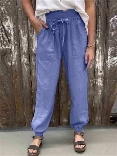 Women's Loose Casual Lace-Up Solid Color Sweatpants
