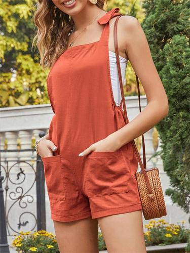 Casual Loose Lace-Up Pocket Sleeveless Jumpsuit