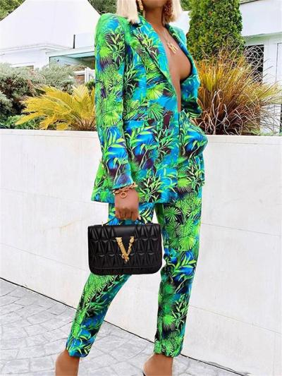 Two-Piece Set Elegant Style Long-Sleeved Button Print Top + Slim Fit Pants