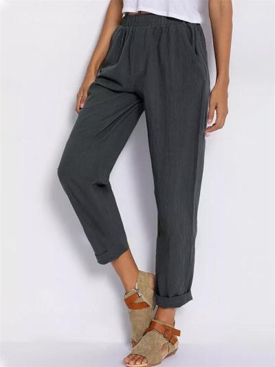 Women's Casual Solid Color Mid-Waist Elastic Waist Pants
