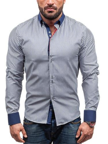 Mens Fahsion Striped Patchwork Long Sleeve Shirts