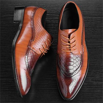 Mens Fashion Casual Business Low-Top Solid Color Leather Shoes