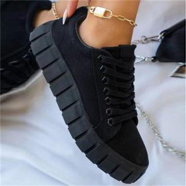 Fashion Plus Size Round Toe Lace-Up Canvas Shoes