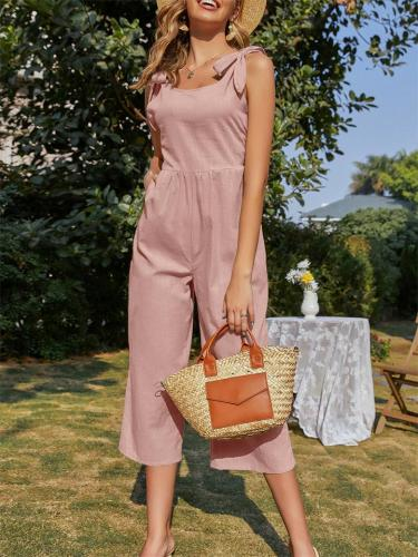 Fashion Wide Leg Solid Color Sleeveless Lace-Up Cropped Jumpsuit