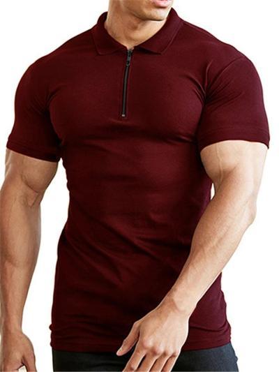 Mens Slim Fit Training Zipper Short Sleeve Shirts