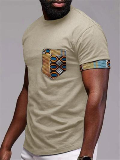 Mens Casual Patchwork Personality Short Sleeve T-Shirts
