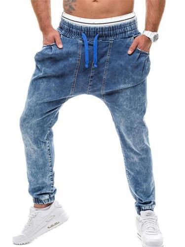 Mens Hip Hop Baggy Sports Harem Denim Pants