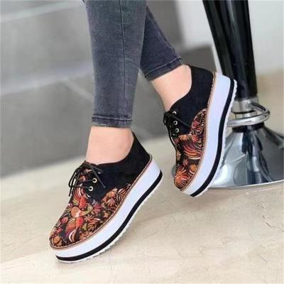 Women's Lightweight Simple Ethnic Style Lace-Up Round Toe Shoes