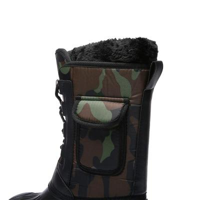 Mens Warm Lining Camo Outdoor Snow Boots