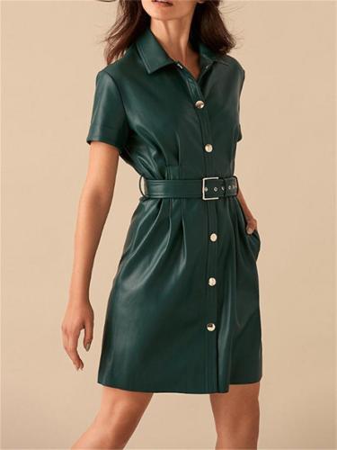 Solid Color PoloCollar Button Short Sleeve High Waist A-Line Leather Dress