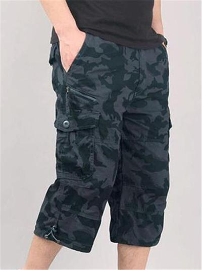 Mens Casual Outdoor Workout Cropped Cargo Pants With Pockets