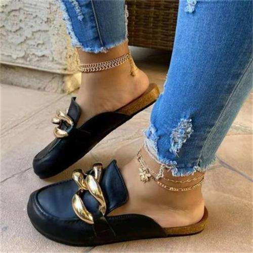 Women's Casual Style Solid Color Metal Chain Decorative Sandals