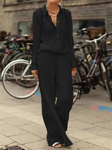 Two-Piece Loose Solid Color Long-Sleeved Blouses + Wide Leg Pants