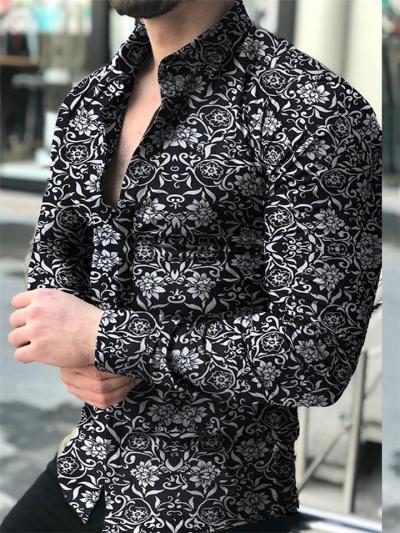 Mens Casual Print Personality Long Sleeve Shirts