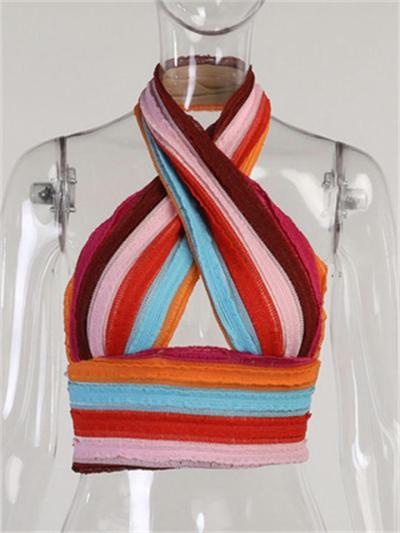 Sexy Colorful Backless Sleeveless Knitted Striped Slim Top