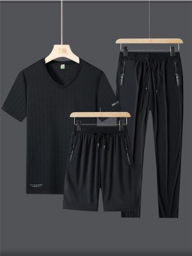 Mens Loose Comfy Sports Short Sleeve T-Shirts+Shorts+Pants