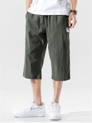 Mens Casual Breathable Linen Cropped Pants