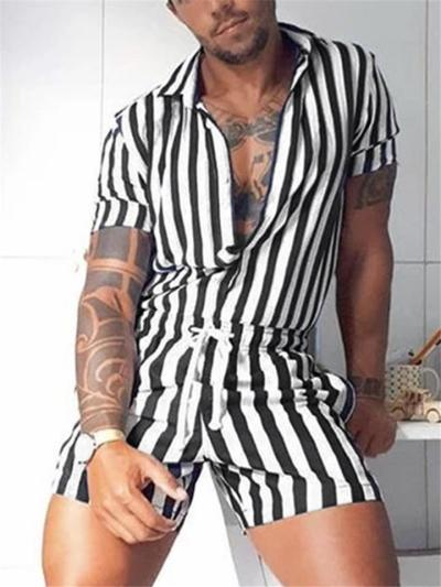 Mens Casual Sexy Contrast Color Sports Jumpsuits