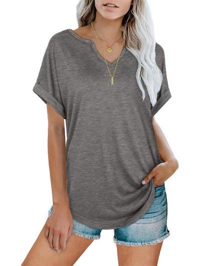 Fashion Solid Color V-Neck Loose Short-Sleeved T-Shirt