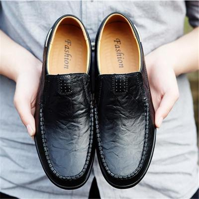Mens Stitching Breathable Comfy Leather Loafers