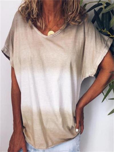 Street Style Loose Rainbow Gradient Print Short-Sleeved T-Shirt