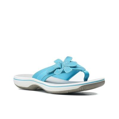 Casual Style Lightweight Comfy Solid Color Flower Decoration Flip-Flops Flat Slippers