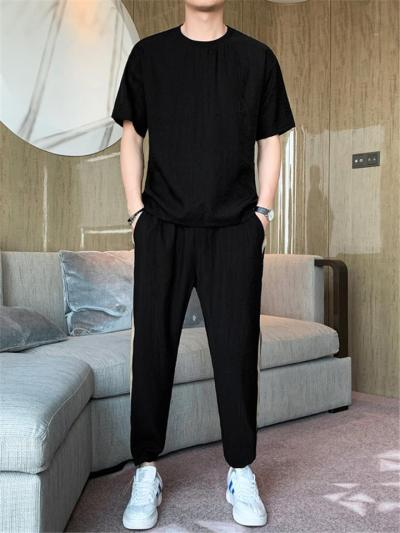 Mens Loose Breathable Soft Casual Two Pieces