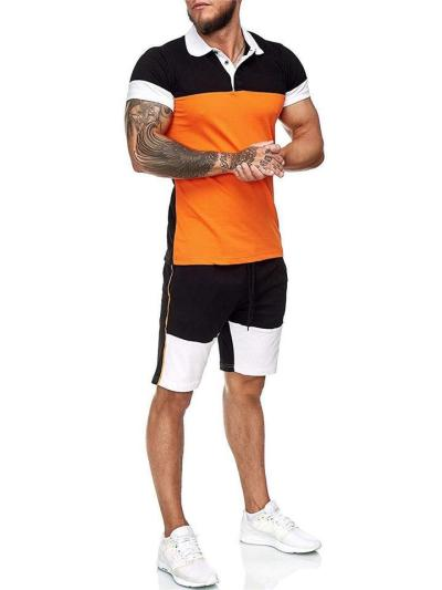 Mens Outdoor Gym Patchwork Personality Shirts+Shorts
