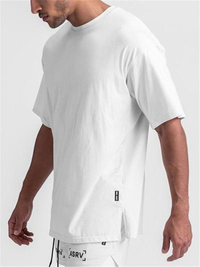 Mens Casual Loose Solid Color Split T-Shirts