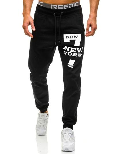 Mens Comfy Number Print Sports Ankle Pants