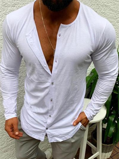 Mens Solid Color Plain Soft Casual Long Sleeve Shirts