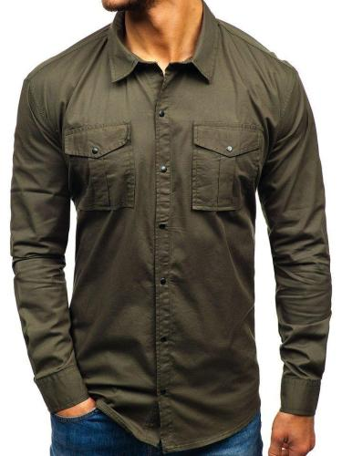 Mens Casual  Plain Cargo Shirts WIth Pockets