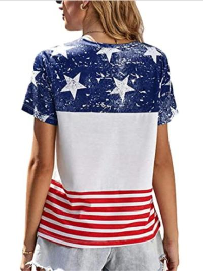 Women's Fashion Loose Five-Pointed Star Print Short-Sleeved Striped T-Shirt